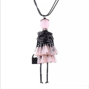 Crystal retro girl necklace!